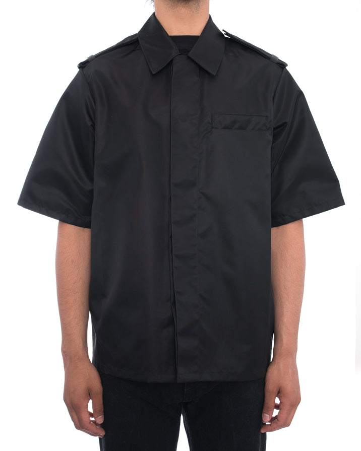 Prada Fall 2015 Black Nylon Short Sleeve Runway Jacket - M