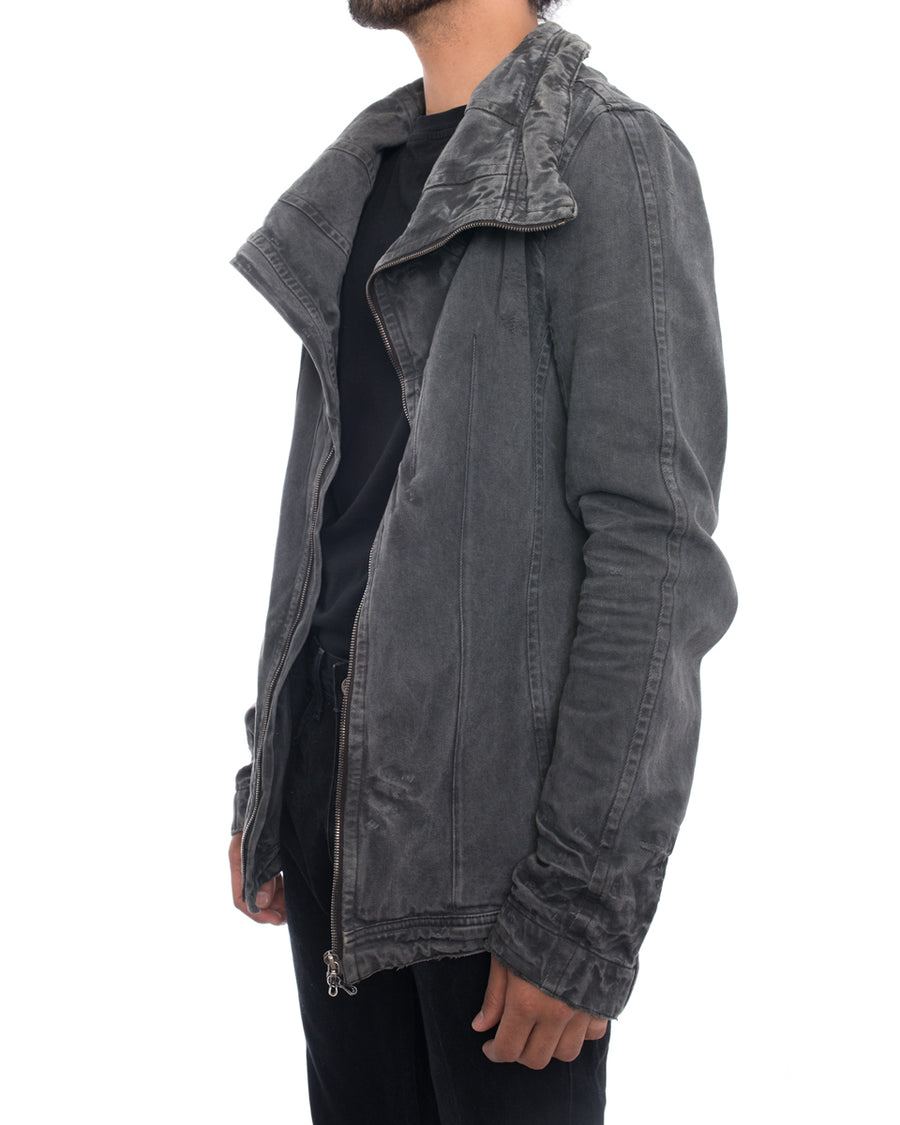 Julius 7 AW 2010 Goth_ik Grey Distressed Denim Zip Jacket - M