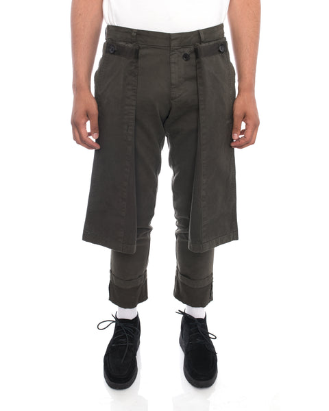 Dries Van Noten Perrish Skirted Cargo Pants in Khaki Green - 30