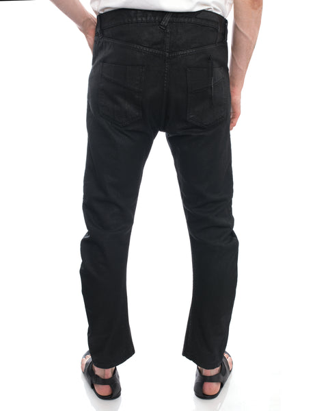 Boris Bidjan Saberi 11 Black Wax Coated Denim Curve Jeans - 34