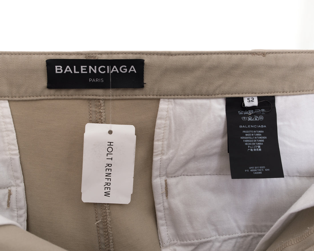 Balenciaga Fall 2017 Beige Cotton High Rise Pants - 34