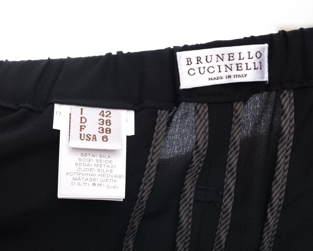 Brunello Cucinelli Black Silk Pleated Trousers - 6