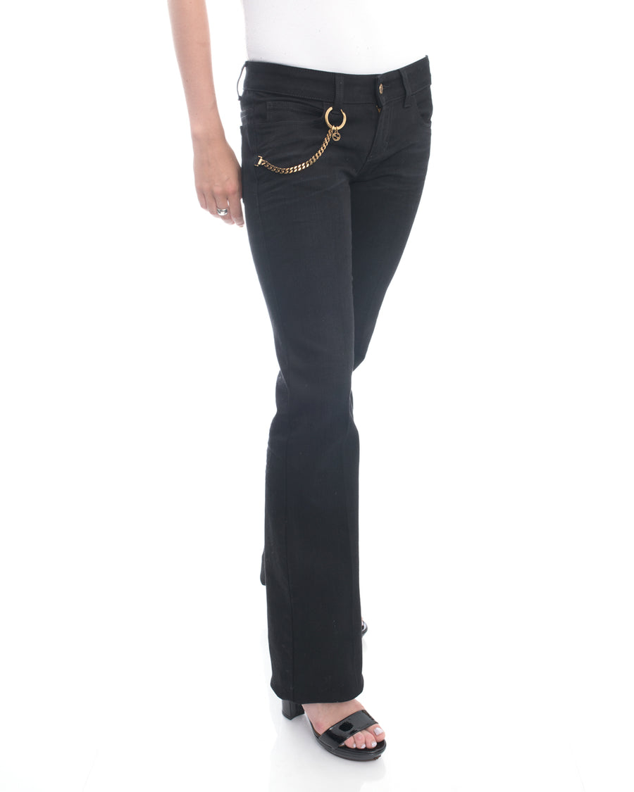 Gucci Black Denim Flared Jeans with Gold Chain - S