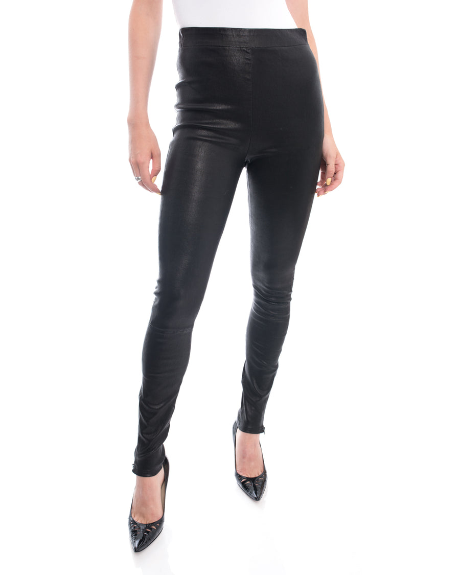 Frame Black Stretch Lambskin Leather Leggings - 6