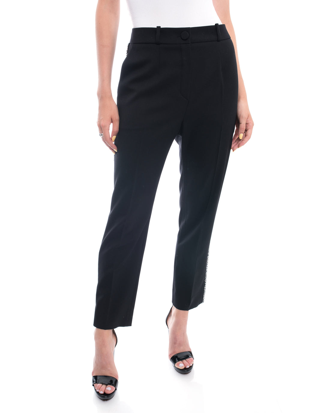 Lanvin Black Trouser with Beaded Tuxedo Trim - 8