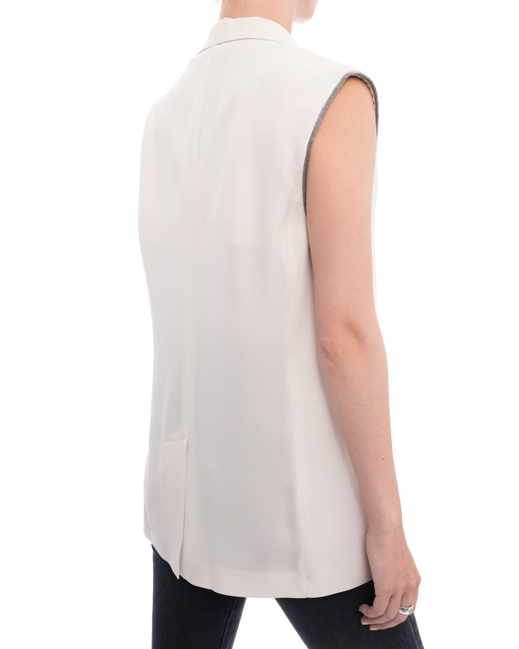 Brunello Cucinelli Off White Vest with Chain Bead Trim - M