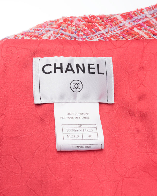 Chanel 04P Hot Pink Tweed Jacket with Clear CC Buttons - 40