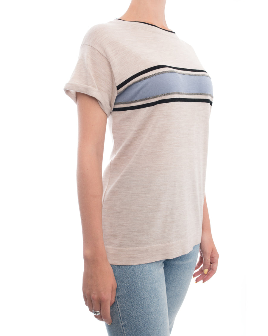 Brunello Cucinelli Oatmeal Short Sleeve Blue Stripe Sweater - S