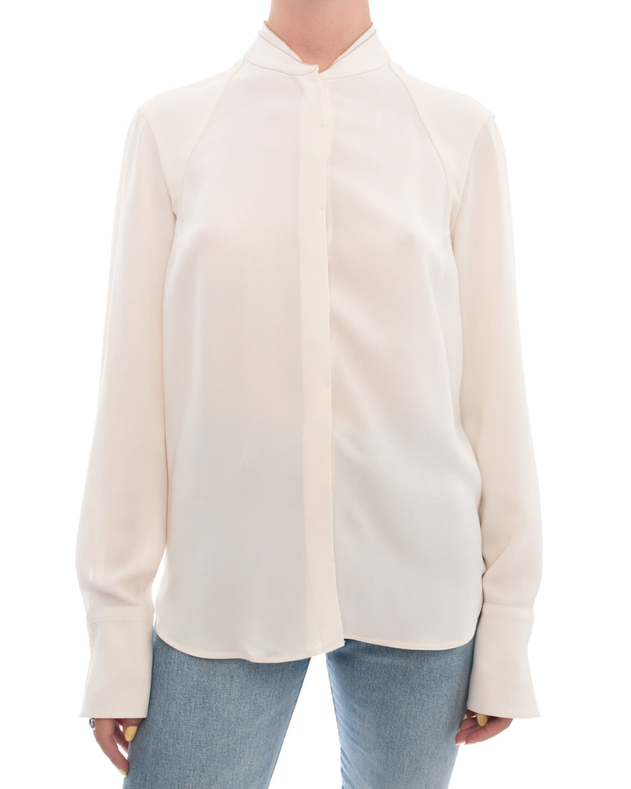 Brunello Cucinelli Ivory Silk blouse with Chain Trim - S