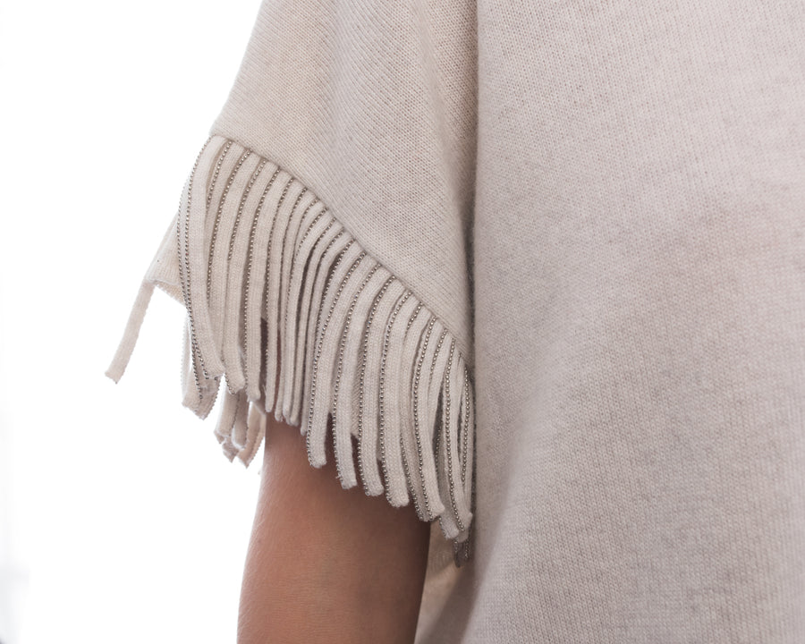 Brunello Cucinelli Light Grey Cashmere Fringe Sweater - M