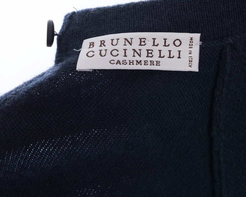 Brunello Cucinelli Navy Blue Cashmere Bead Trim Sweater - M