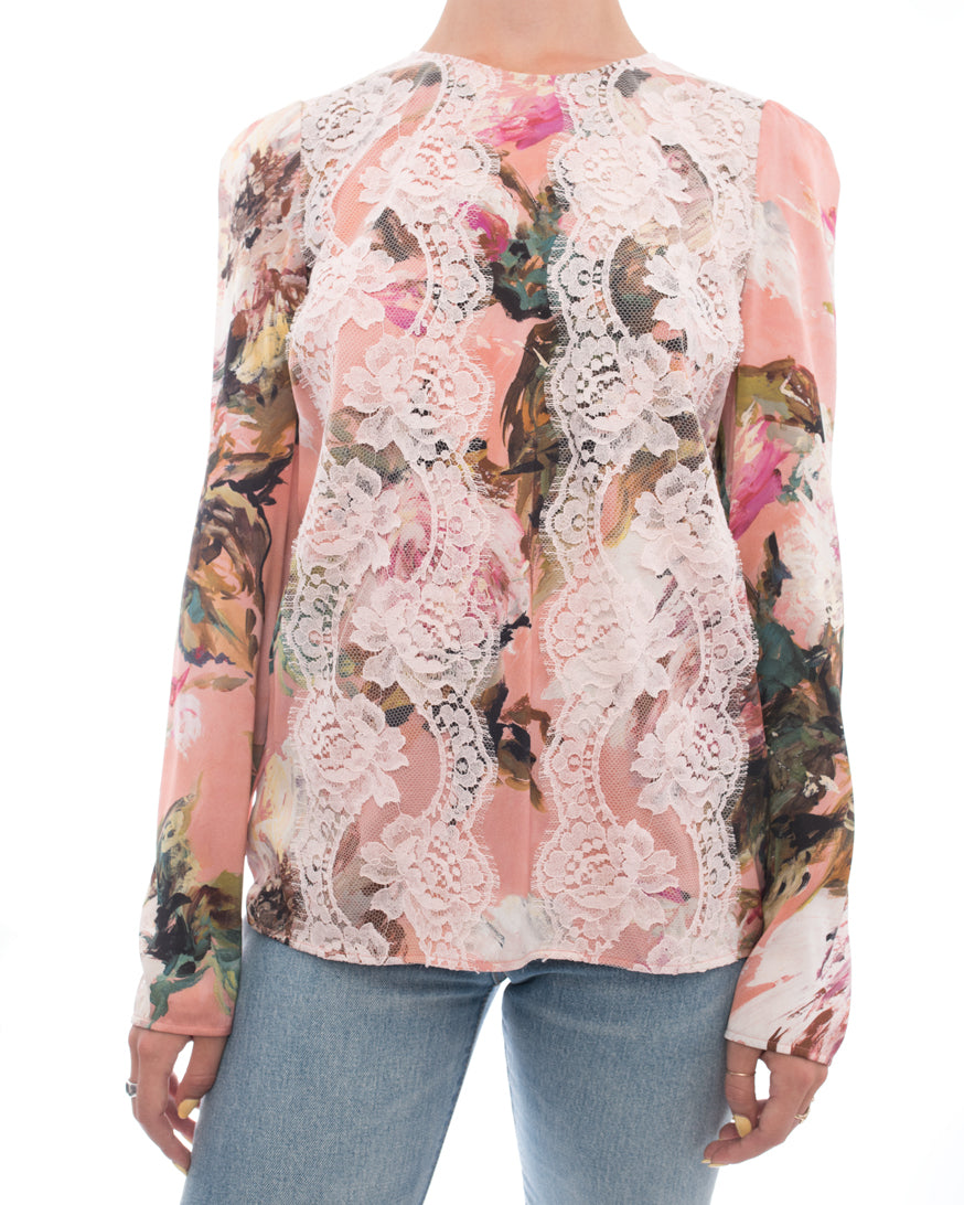 Dolce & Gabbana Pink Silk floral Top with Lace Overlay - 4