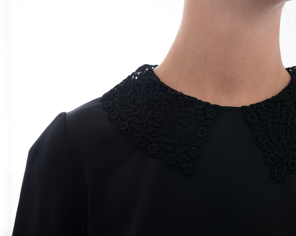 Dolce & Gabbana Black Short Sleeve Blouse with Lace Collar  - 4