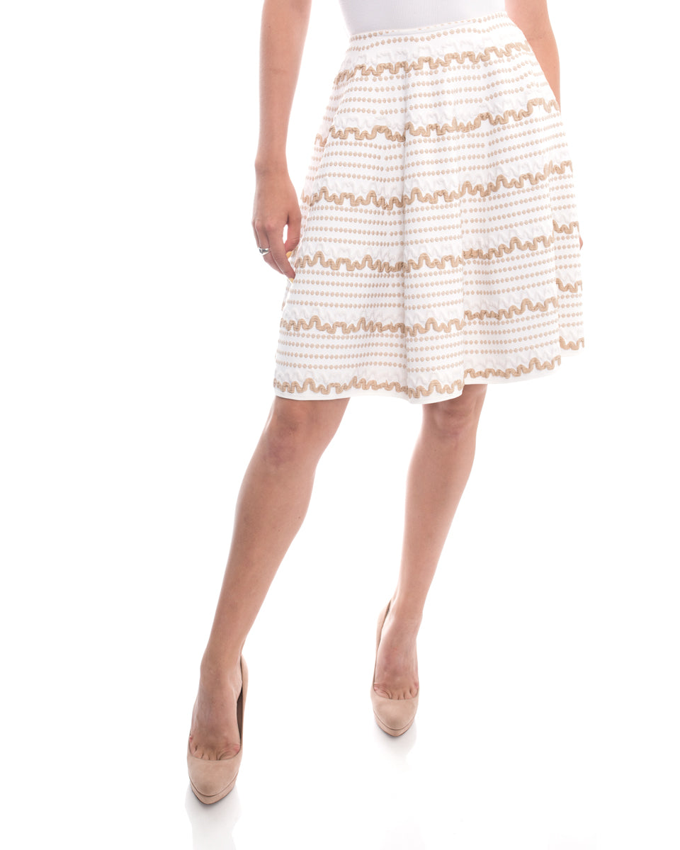 Alaia White and Beige Flared Skirt With Geometric Pattern - S