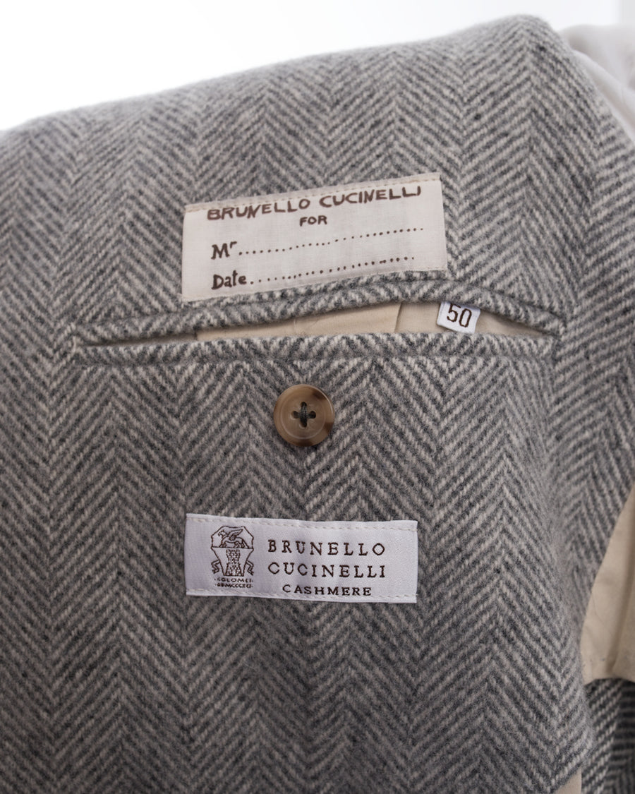 Brunello Cucinelli Light Grey Wool Herringbone Blazer - 50