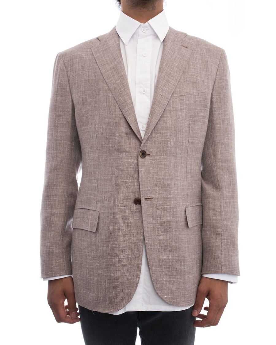 Kiton Napoli Light Brown Linen Blend Blazer - 50