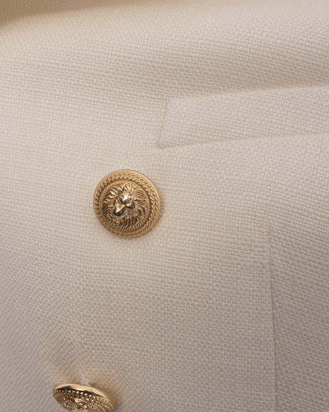Balmain Ivory Linen Blazer with Gold Lion Buttons - FR44 / USA 12
