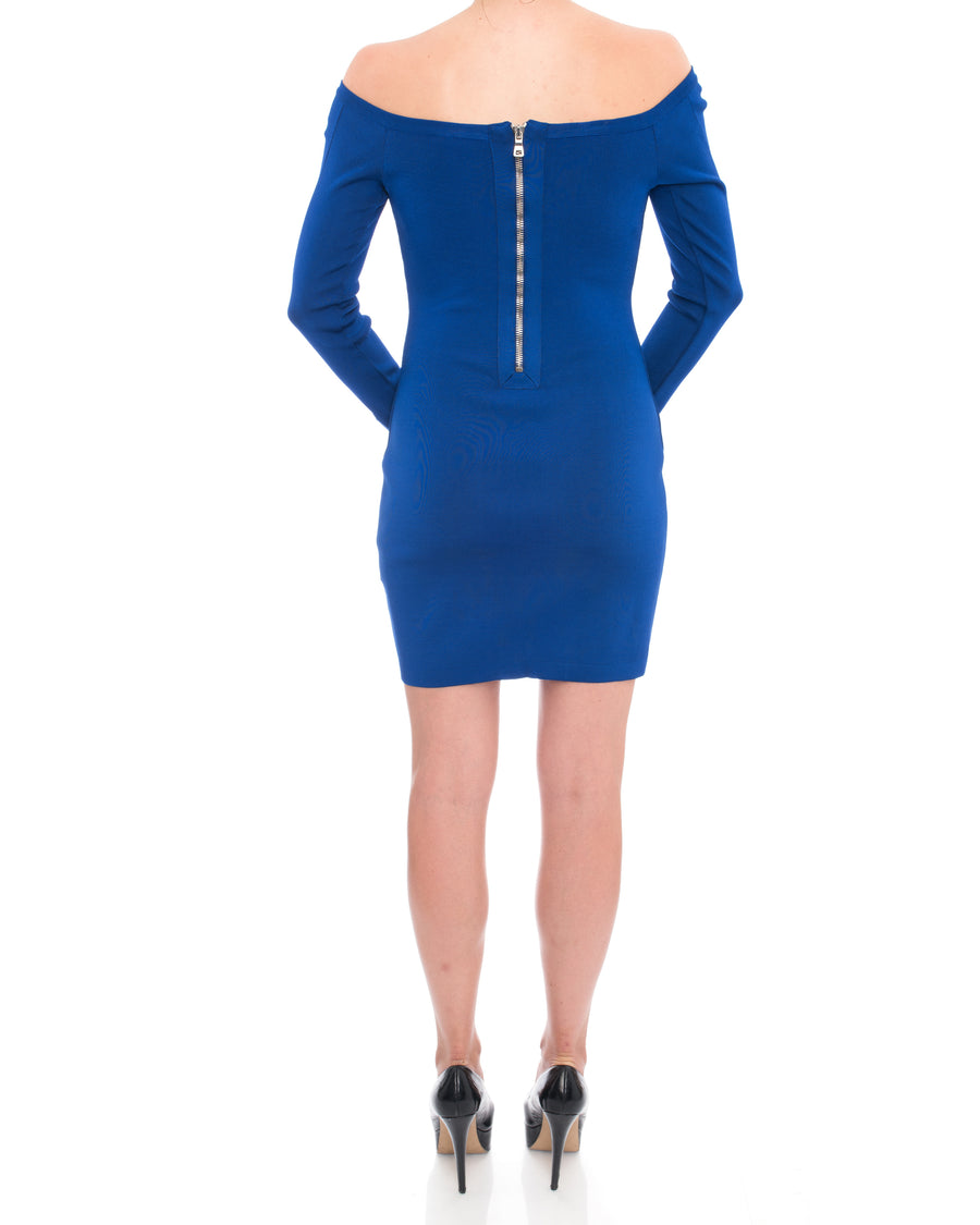 Balmain Cobalt Blue Off Shoulder Bodycon Dress - 10