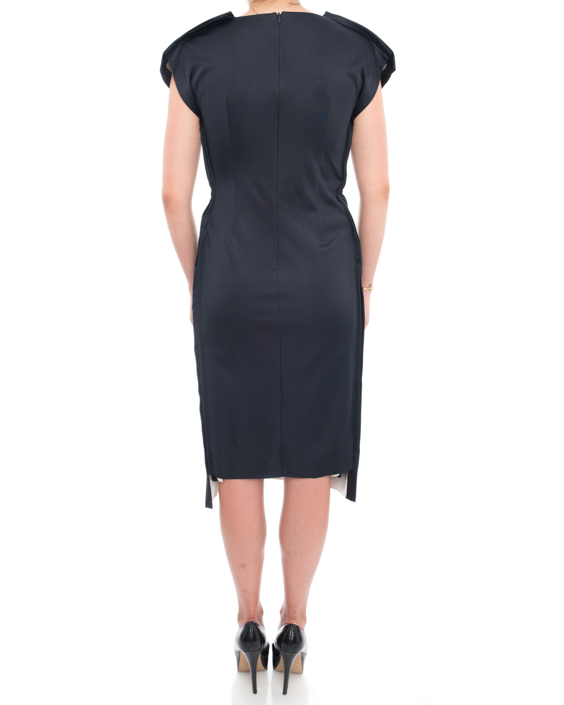 Marni Navy Satin Knot Front Wiggle Midi Dress - 10