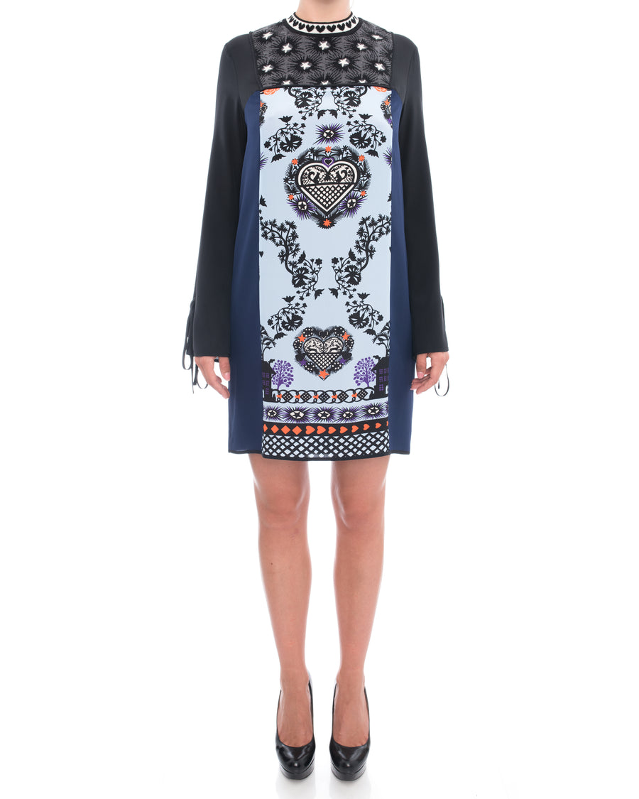 MSGM Navy Silk Pattern Silhouette Inset Dress - 8