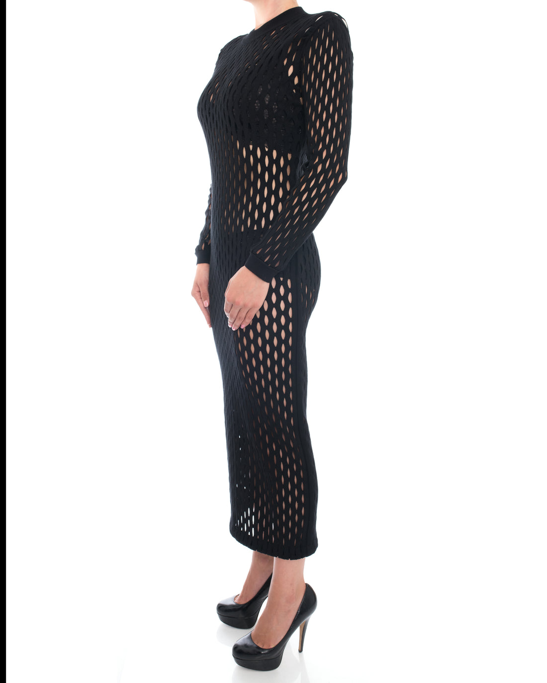 Balmain Black Sheer Stretch Mesh Long Tube Dress - 10
