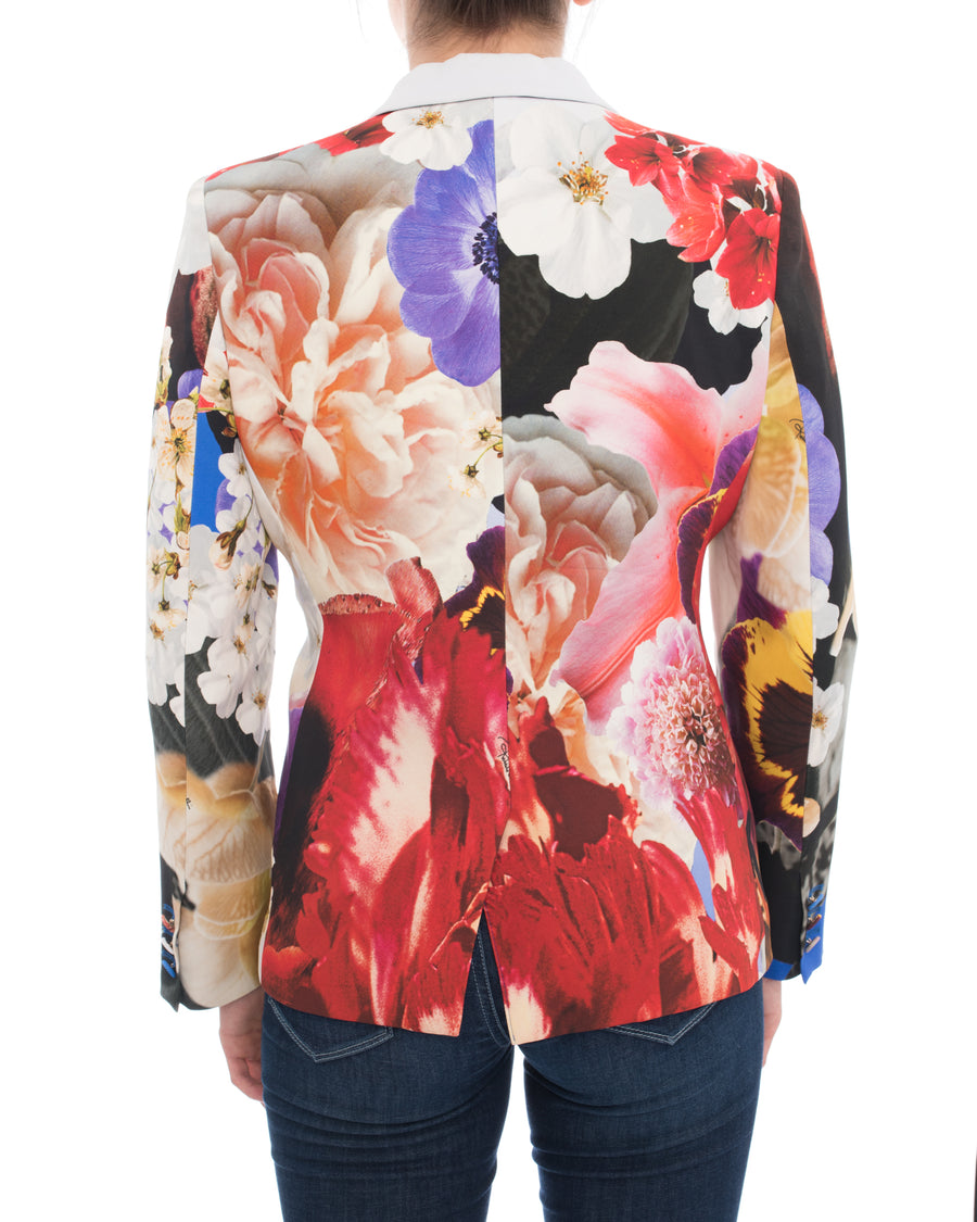 Roberto Cavalli Red, Blue, Yellow Floral Photoprint Blazer Jacket - 10