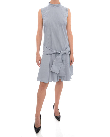 Brunello Cucinelli Blue Striped Cotton Dress with Sash - M
