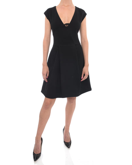 Roberto Cavalli Black Wool V-Neck Dress - 4