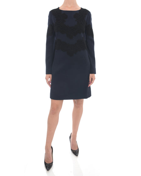 Chloe Navy Wool Long Sleeve Dress with Black Lace - 6