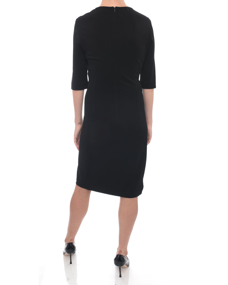 Gucci Black Jersey ¾ Sleeve Seamed Dress - 8/10