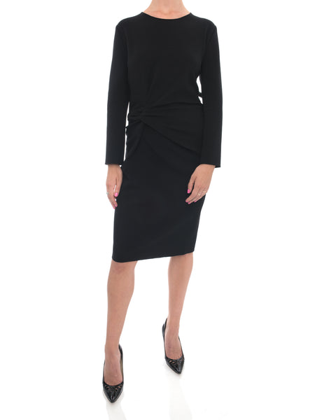Lanvin Black Stretch Knit Wool Dress with Knot Side - 10
