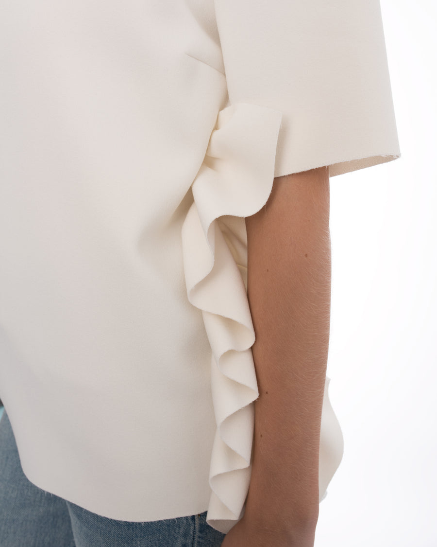 MSGM Ivory Short Sleeve Shirt with Ruffle Detail - 6