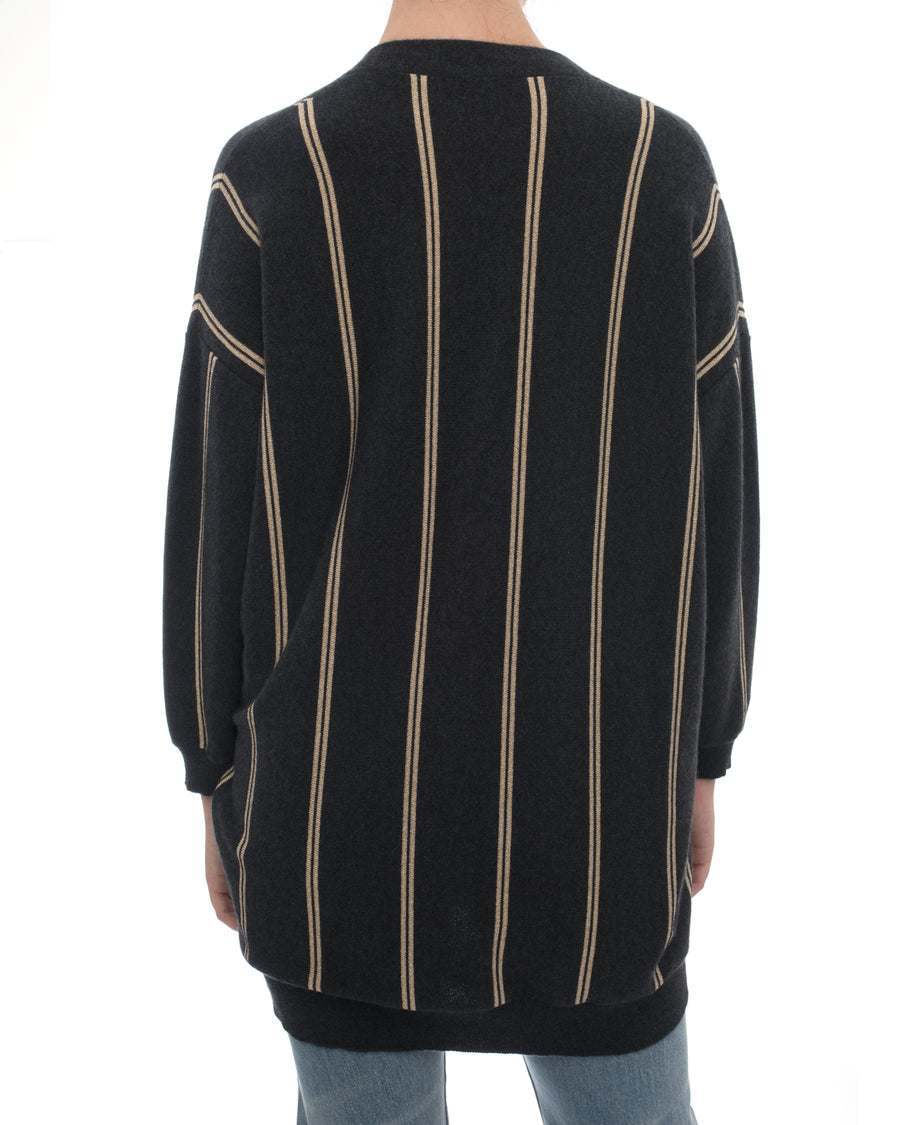 Brunello Cucinelli Grey and Gold Striped Cardigan with Crest - S