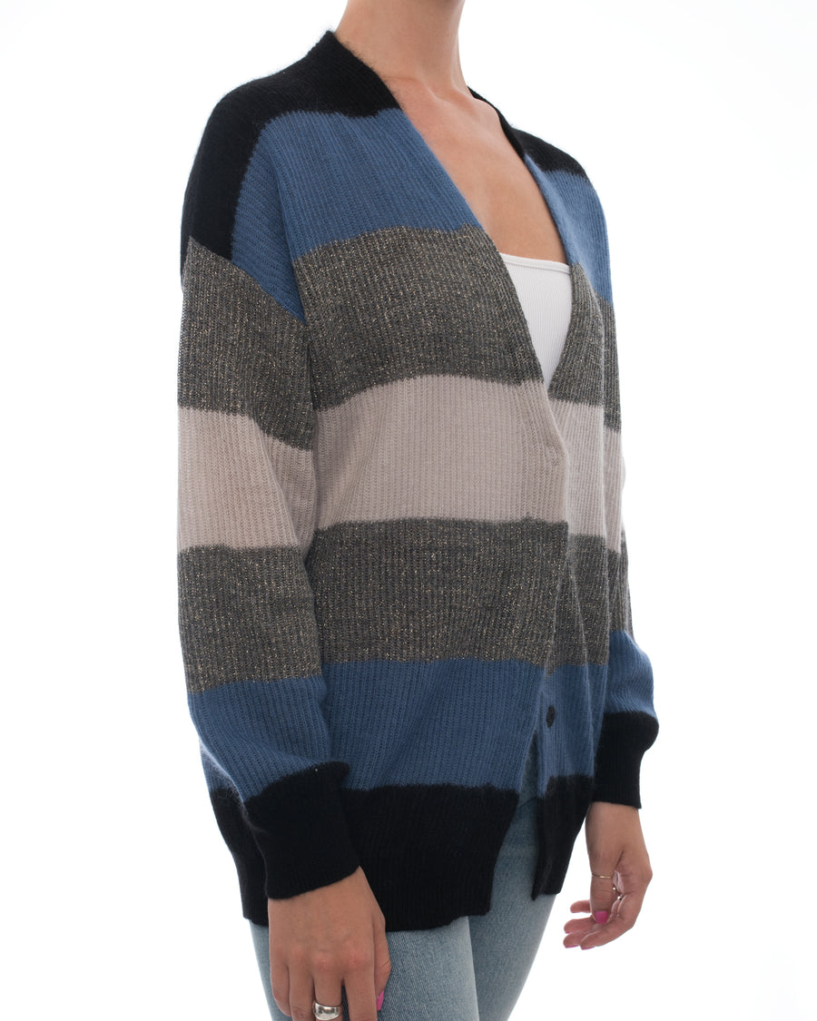 Brunello Cucinelli Blue Grey Color Block Striped Cardigan - S