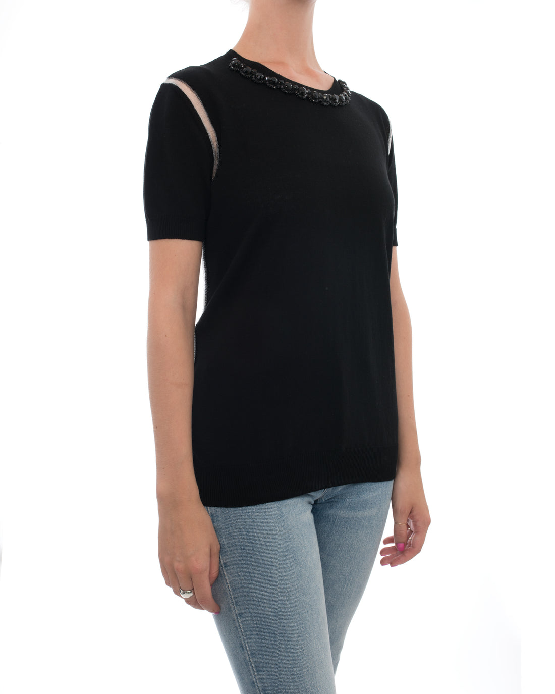 Marni Black Knit Short Sleeve Top with Jewelled Neckline - 6