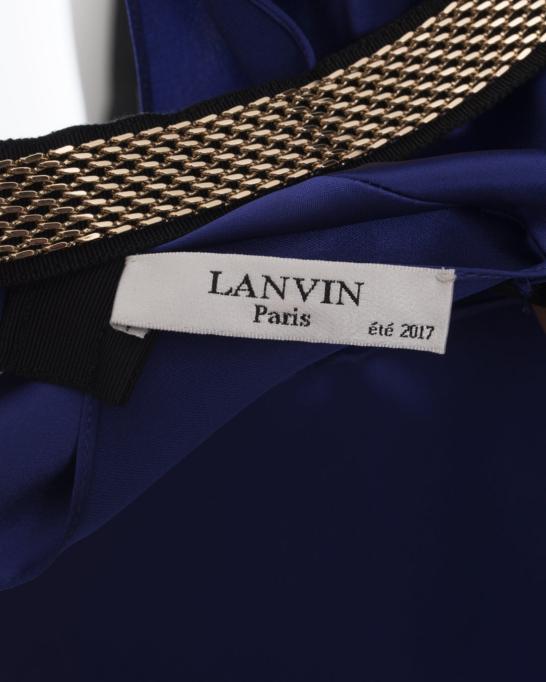 Lanvin Purple Satin Bias Top with Gold Chain Back - 6