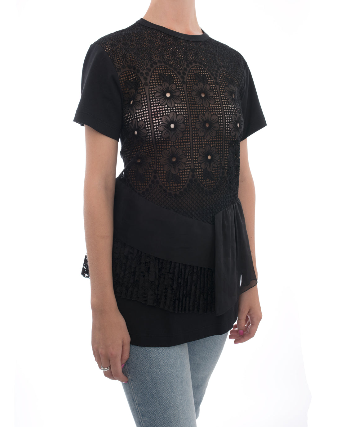 No. 21 Black T-Shirt with Broderie Anglaise Inset - 6