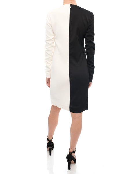 Celine Black and White Graphic Color Block Shift Dress - 0