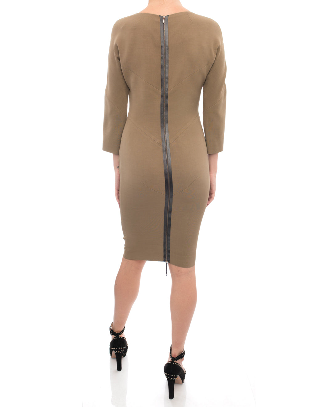 Victoria Beckham Light Brown Seamed Wiggle Dress - 4