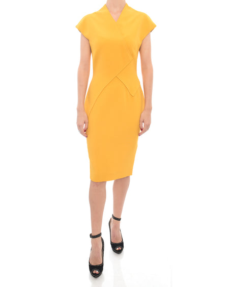 Victoria Beckham Mustard Yellow Fitted Wiggle Dress - 4