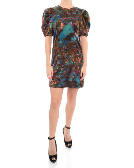 Erdem Marbled Blue and Rust Silk Dress - 4