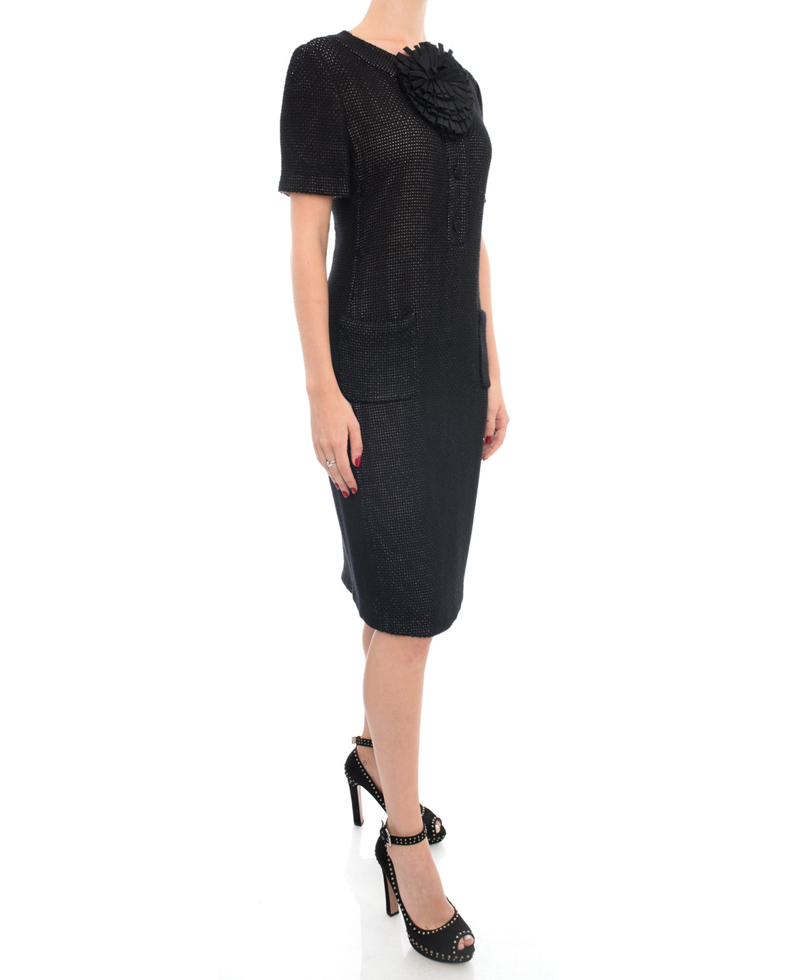 Fendi Black 1960's Style Dress with Flower Accent - 8