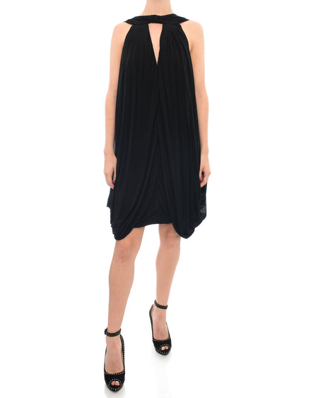 Gucci Black Rayon Draped Jersey Dress - 6/8