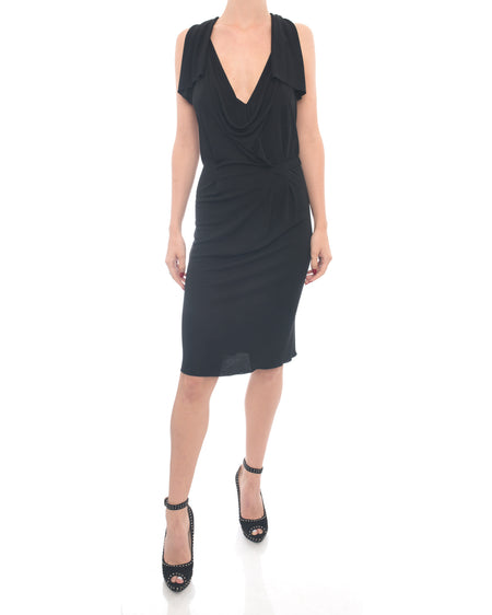 Roland Mouret Black Jersey Cowl Neck Halter Dress - 2/4