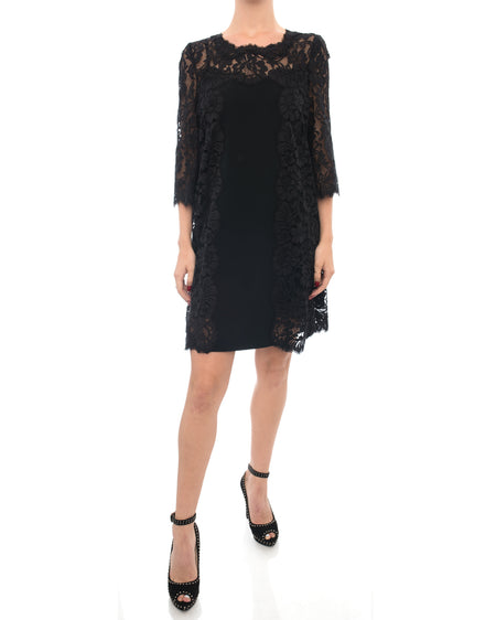 Dolce & Gabbana Black lace Panel Shift Dress - 6