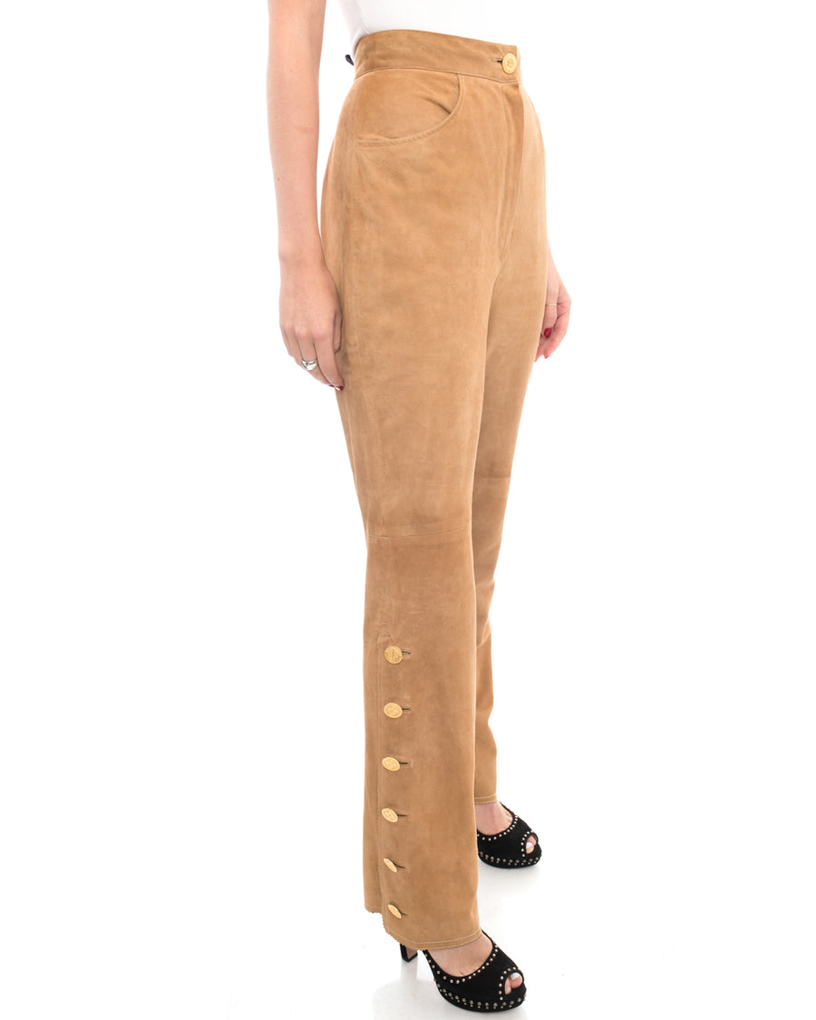 Chanel Vintage 1980's Tan High Waisted Suede Pants with Buttons - 6