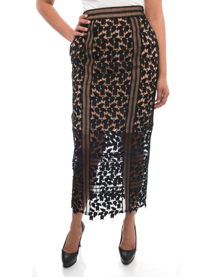 Self Portrait Black Thick Lace Long Nude Lined Skirt - 6