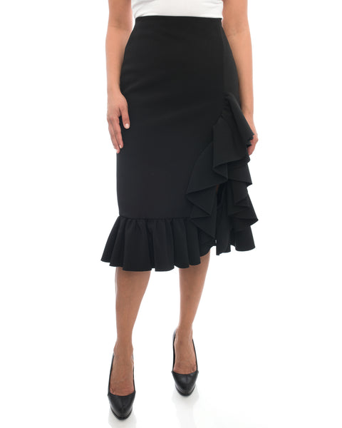 MSGM Black Ruffle Skirt with Front Slit - 8