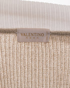 Valentino Gold Shimmer Knit Top with Guipure Lace - 6