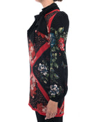 Alexander Mcqueen Red and black Silk Floral Shift Dress - 2